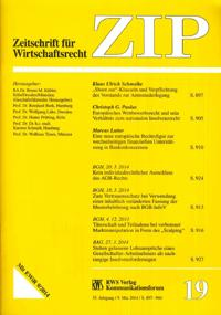 """""""'Shoot out'-Klauseln und Verpflichtung des Vorstands zur Amtsniederlegung"""" in der ZIP 2014, 897-905."""