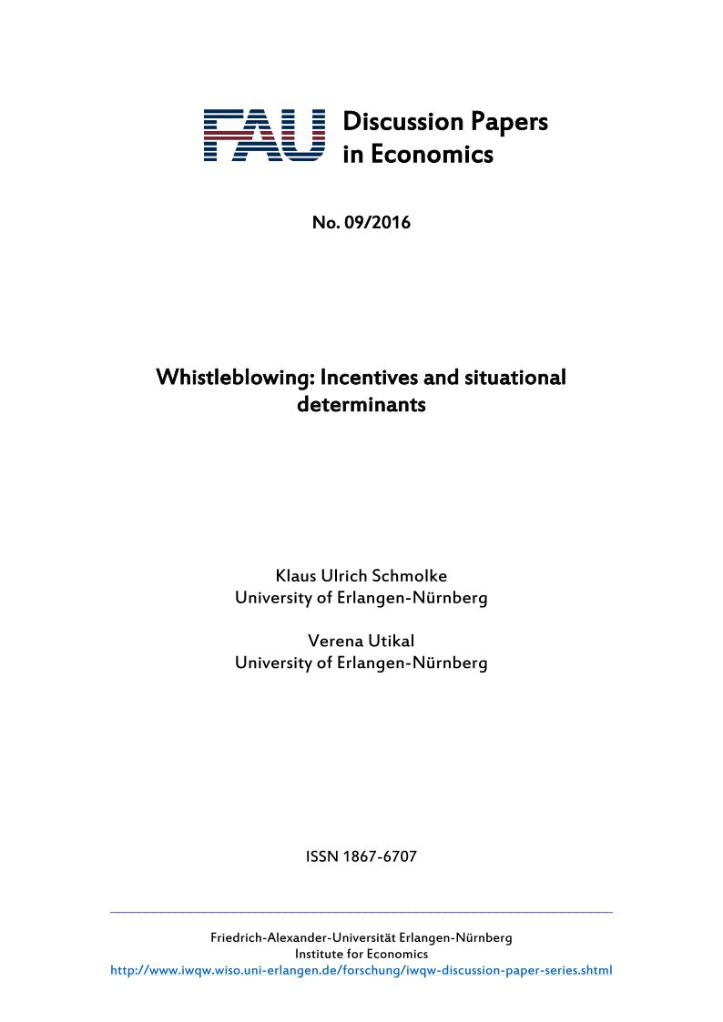 "Zum Artikel ""Whistleblowing: Incentives and Situational Determinants"""